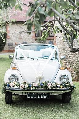 Wedding Car Hire Sussex Vintage VW Beetle front image Selden Barns