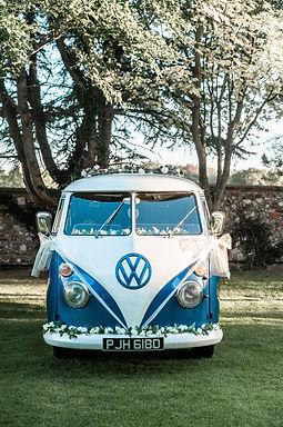 Wedding Car Hire Sussex Vintage VW Splitscreen Bus front image at Selden Barns