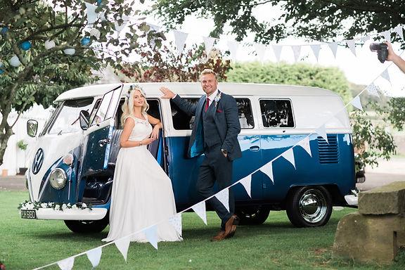 Wedding Car Hire Sussex Vintage VW Splitscreen Bus side image Selden Barns