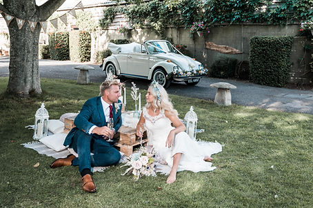 Wedding Car Hire Sussex Vintage VW Beetle picnic Selden Barns