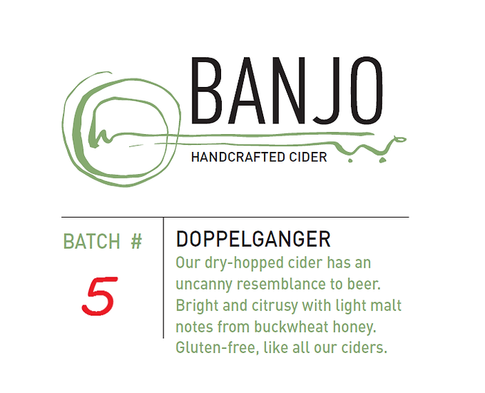 #5 - Doppelganger: Dry-hopped, with a touch of Buckwheat Honey  (750 mL)
