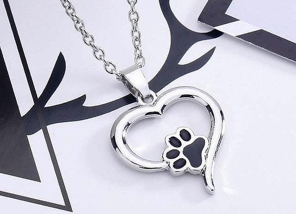 Dog Paw Heart Pendant Necklace