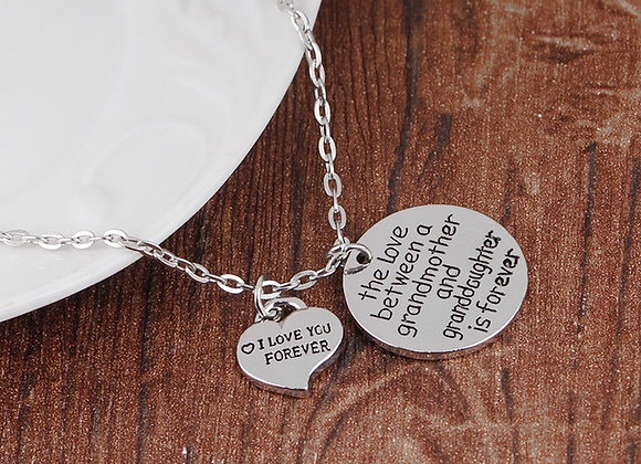 """Necklace """"Love between a Grandmother and Granddaughter is Forever"""""""