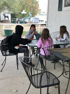 Playing cards at the ranch clubhouse
