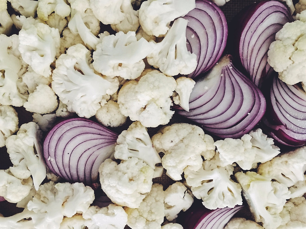 Cauliflower and onions headed for the oven