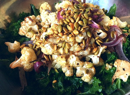 Kale, Cauliflower, and Grape Salad with Anchovy Vinaigrette
