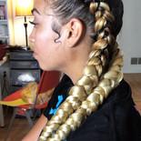 feed in braids blonde hair added