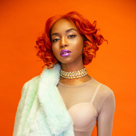 curly colored wig photoshoot