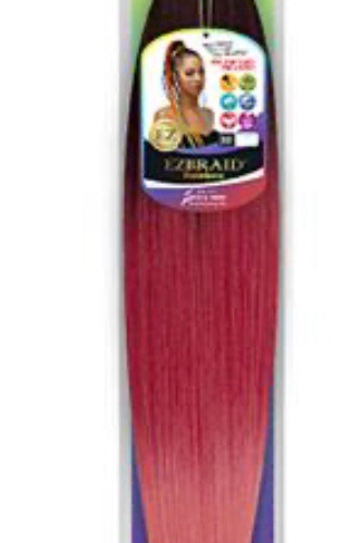 Red & Pink EZBRAID prestretched hair