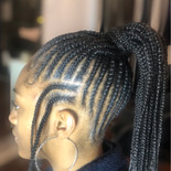 feed in braids in ponytail