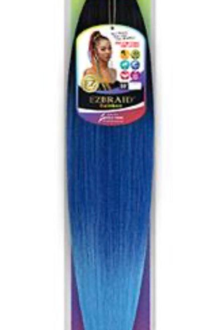 Blue & Light Blue EZBRAID prestretched hair