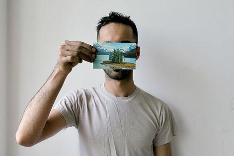 artist Basil AlZeri's The Postcard Project Postcard #7, A Problem So Big It Needs Other People