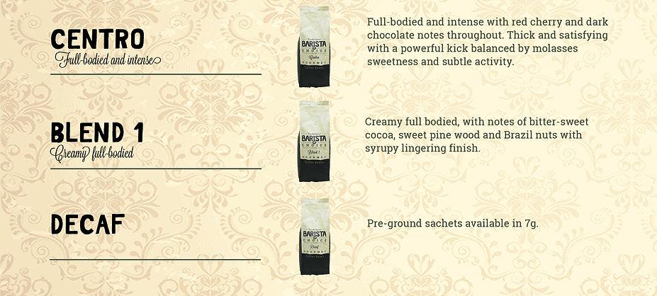 Barista choice range of coffee beans