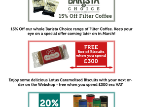 Your exclusive March Offers from Crown Water & Coffee