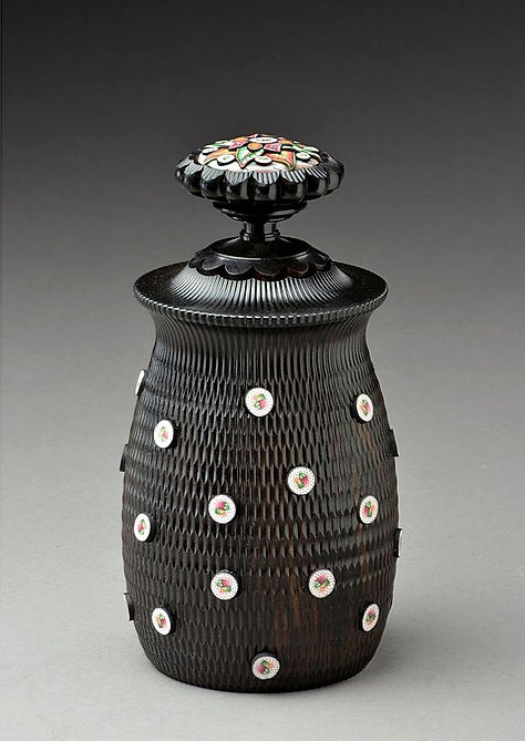 Homage to Sushi Box: African Blackwood & Polymer Clay. Made on the Rose Engine Lathe