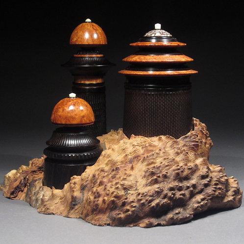 Tops of Tatooine. Set of 3 tops on Brown Mallee Burl