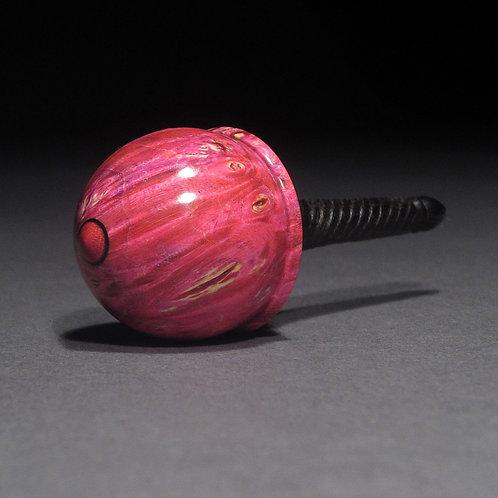 Dyed Box Elder Burl, African Blackwood & Pink Ivory Spin Top