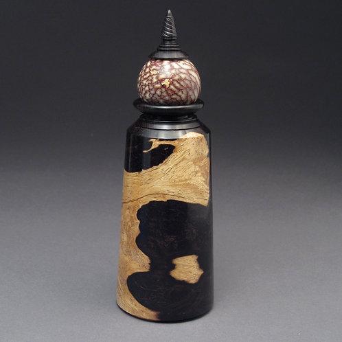 Turned African Blackwood Burl Bottle