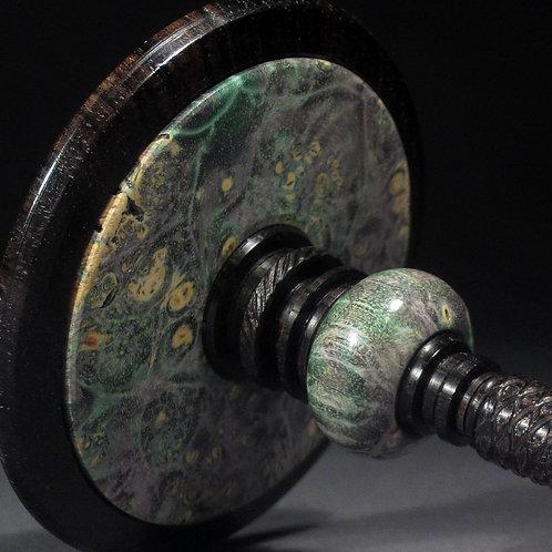 Dyed Box Elder Burl & Blackwood Spin Top