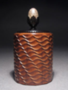 Wave Box: Mopane Wood, African Blackwood & Betel Nut. Made on the Rose Engine Lathe
