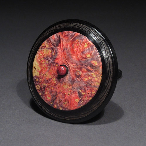 Blackwood & Dyed Box Elder Burl Spin Top