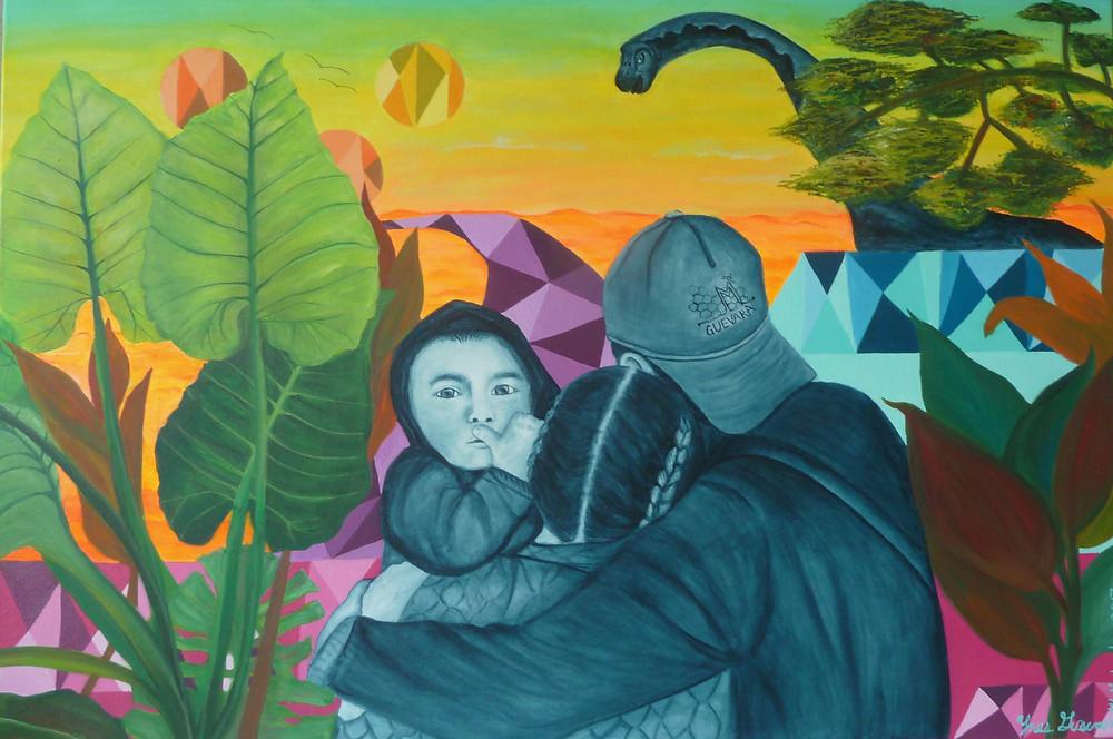 Diego, Mum, Dad and Dinosaur painting