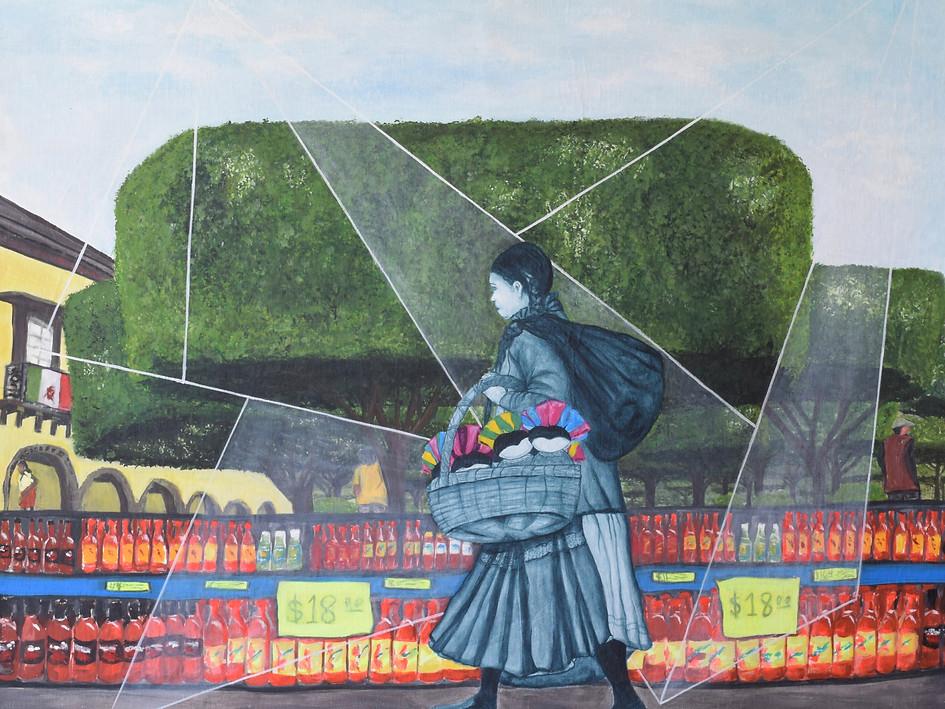 """San Miguel De Allende, Mexico""Available for Sale. Acrylic on Canvas. 90 H x 110 W cm. $850 USD."