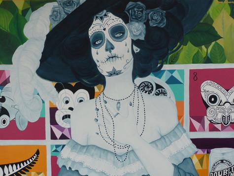 """Available for Sale. """"La Catrina feat. Kiwiana"""", Acrylic on Canvas, 2016."""