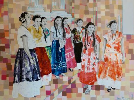 """Disponible para venta. """"Mujer Mexicana en la Iglesia"""", Acrílico sobre Lienzo, 2013."""