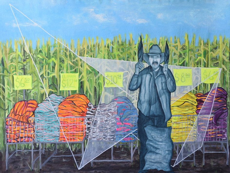 """""""Morenitos Crop Field, Mexico"""" Available for Sale. Acrylic on Canvas. 80H x 100W cm. $850 USD."""