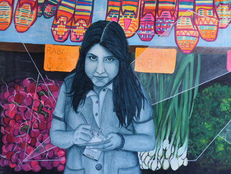 """""""Mexican Market Girl"""". Available for Sale. Acrylic on Canvas, 60H x 120W cm. $ 1250 USD."""