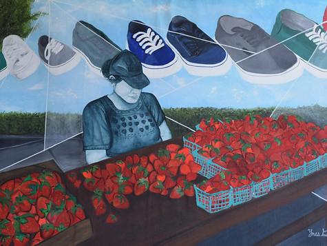 """Baja California Strawberries"" Available for Sale. Acrylic on Canvas. 70Hx 130W cm. $1000 USD."