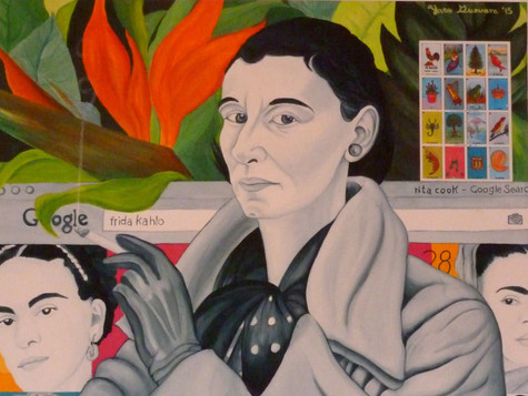 """SOLD. """"Rita Angus and Frida Kahlo in Mexico"""", acrylic on canvas with mexican motiffes, 2015."""