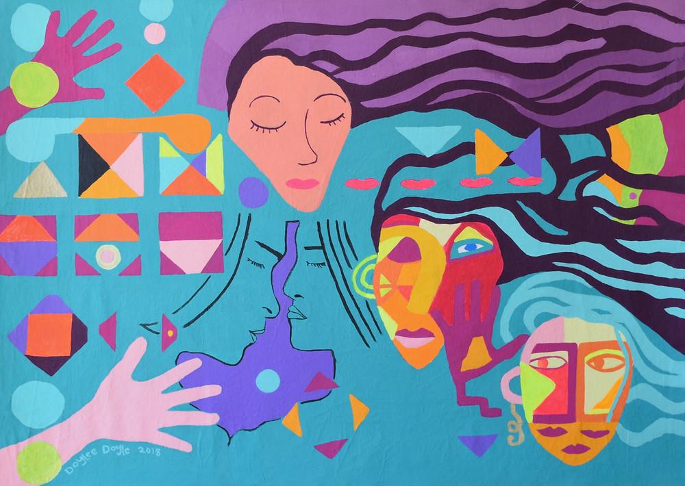 """Kiss Me A Little"" Acrylic on Canvas"" 60Hx90W cm."