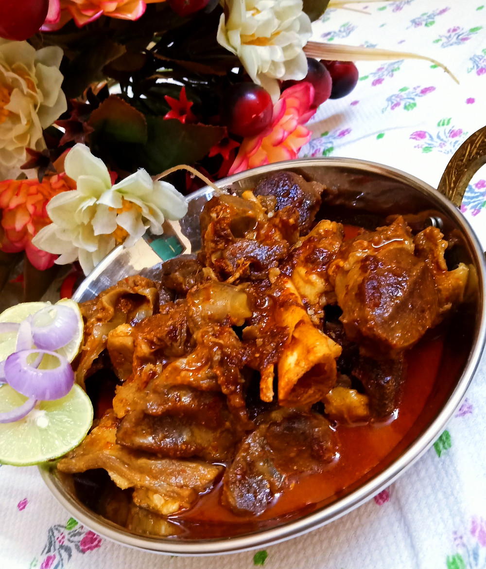 Rogan josh, also written roghan josh or roghan ghosht, is an aromatic curried meat dish of Persian or Kashmiri origin. It is made with red meat. It is coloured and flavoured primarily by alkanet flower or root and Kashmiri chilies. It is one of the signature recipes of Kashmiri cuisine.