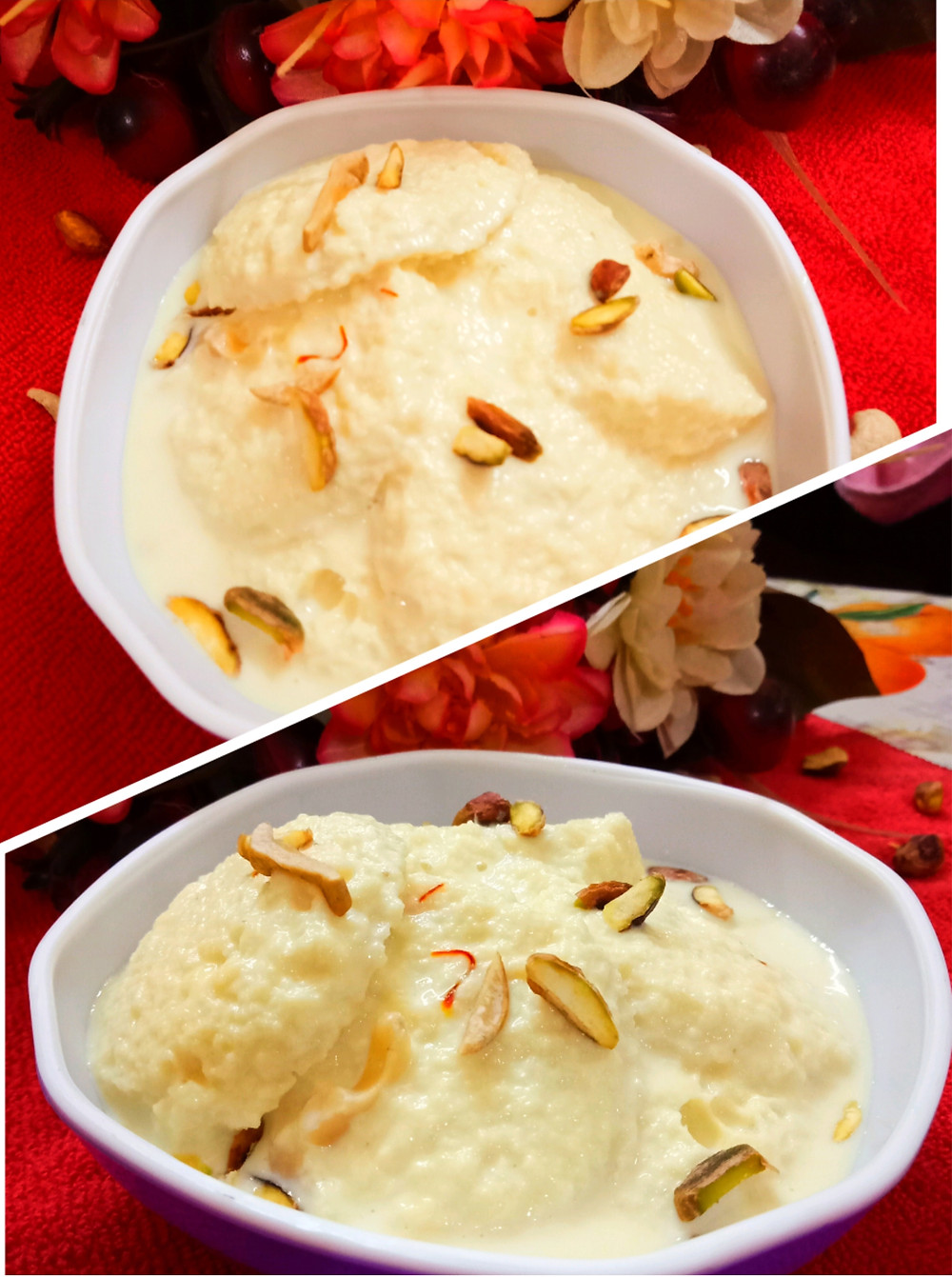 "Rasomalai or Ras malai is a very popular dessert in Eastern India. Rasmalai is a classic Indian festive dessert made with milk. 'Raso' means ""juice"" & Malai means ""cream"". Rasmalai literally means juicy milk cream."
