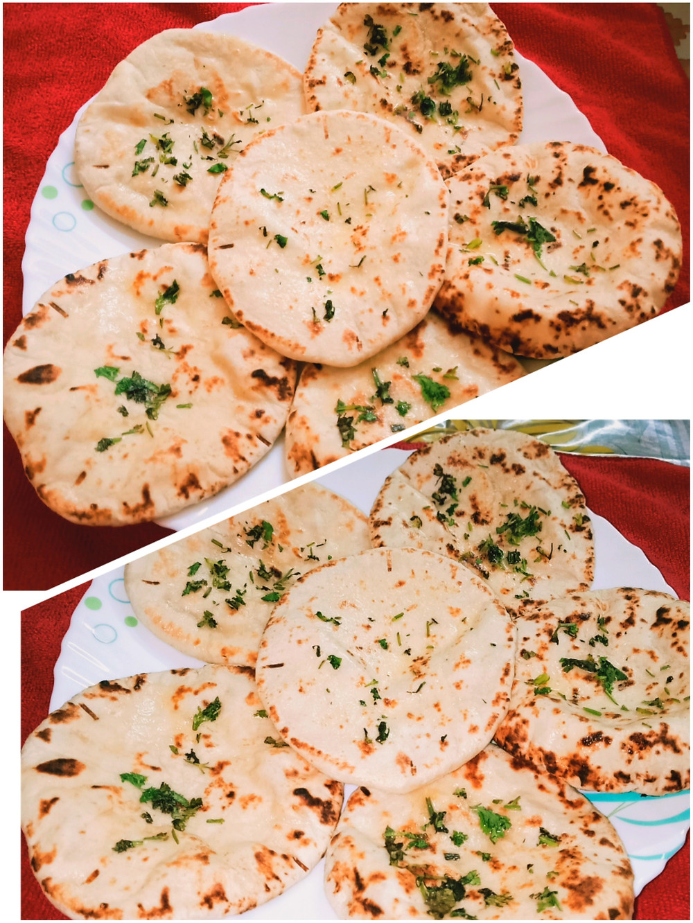 It is made with basic ingredients like flour, oil, yeast, milk. One can also make naan without yeast but I prefer the version with yeast.