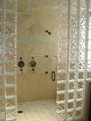 Glass Block Shower Flat Wall