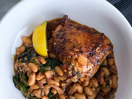 White Beans in White Wine with Chicken Thighs and Spinach...