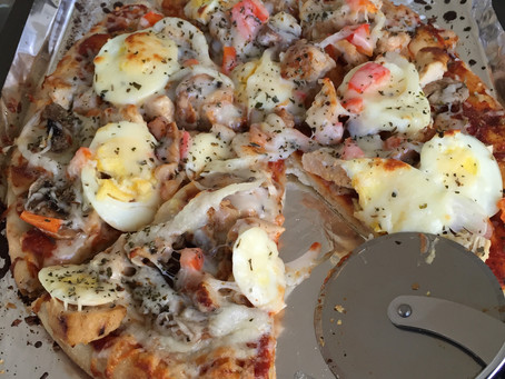 Naan Base Chicken & Mushroom Pizza...