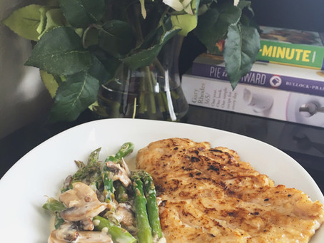 Seared Chicken Breast with Creamy Mushroom & Asparagus Sauce...
