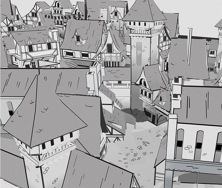 Stylized Medieval City Painted in VR using Quill by Nick Ladd