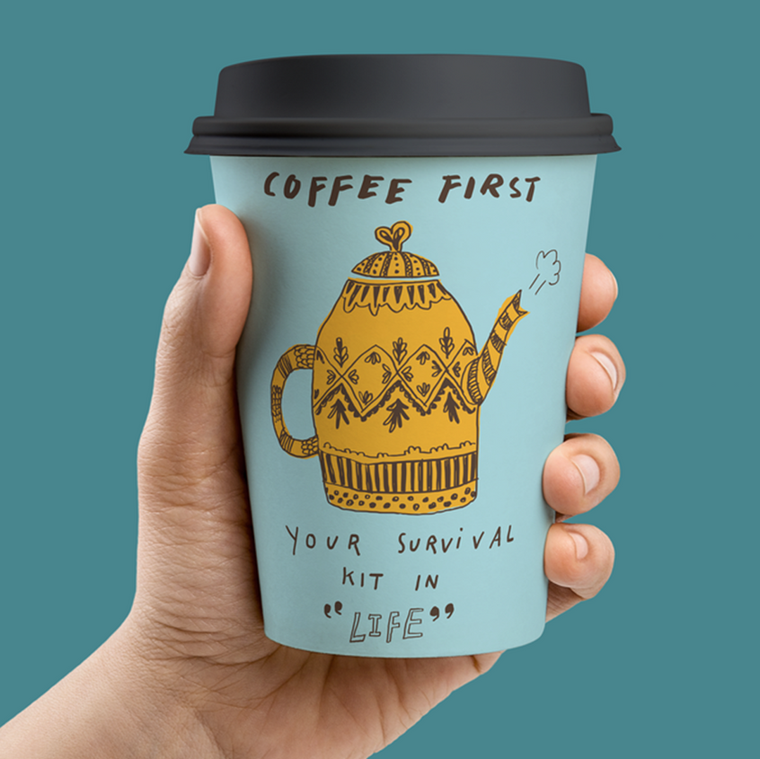 A messily hand-drawn font for a paper cup design by halorena via 99designs.com