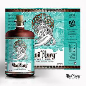 This label design by merci dsgn mixes celtic symbolism with art nouveau illustration via 99designs.com