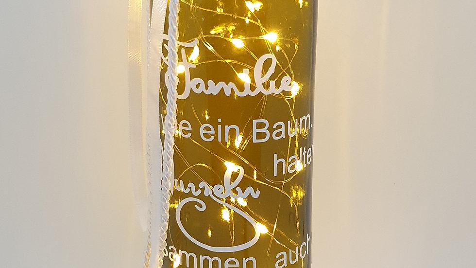 """Lichterflasche """"Eine Familie ist wie ein Baum..."""""""