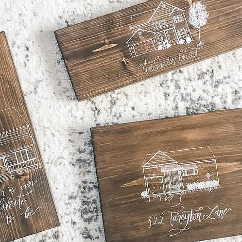 Custom Home Drawing with Hand Lettered Personalization