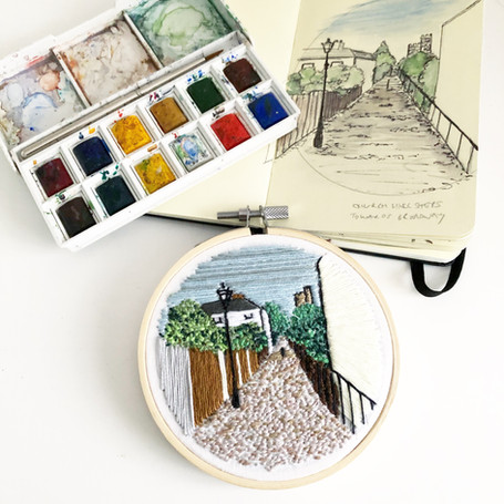 Church Hill steps, Leigh on Sea embroidery by Lauren Stranks