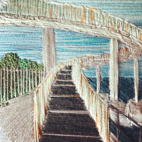 Gypsy Bridge, Leigh on Sea embroidery by Lauren Stranks