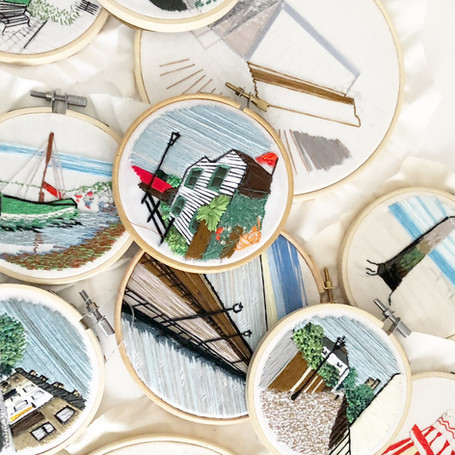 Leigh on Sea embroideries by Lauren Stranks