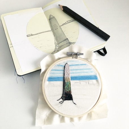Chalkwell Beach, Southend on Sea, Crowstone embroidery by Lauren Stranks